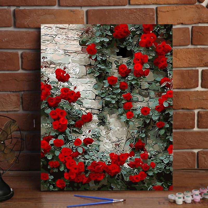 Сделай сам номер слово Картина маслом цветок пейзаж ручная роспись завод раскраски картина гостиная спальня декоративное масло цвет Роспись роз