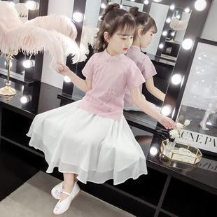 童装女童中国风旗袍公主连衣裙