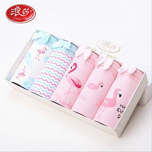 浪莎5条盒装韩系简约可爱卡通全棉女士内裤