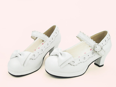 taobao agent Lolita original sweet Lolita lovely bow lace high thick heel women's small leather shoes