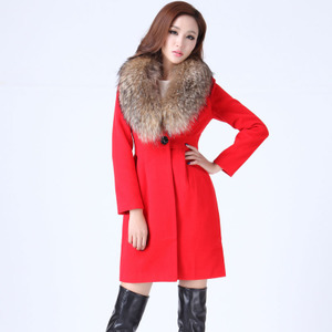 小魅娘实拍2016秋冬新款超大貉子毛领西装领修身显瘦大气毛呢外套