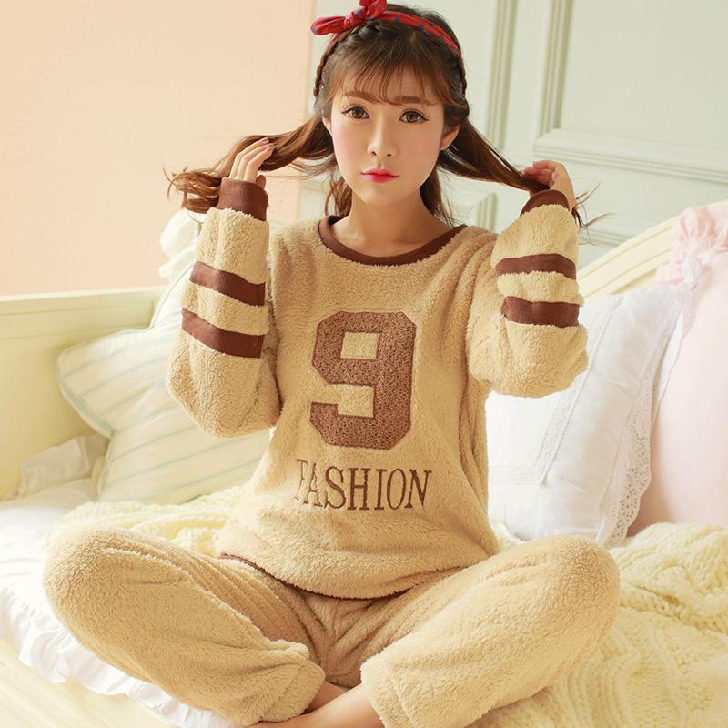 睡衣女冬羊羔加厚珊瑚绒套装韩版字母绣花长袖运动法兰绒家居服