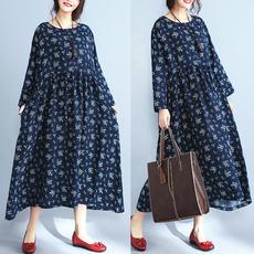 实拍现货 韩版大码女装深蓝碎花显瘦宽松圆领长袖连衣裙#2163