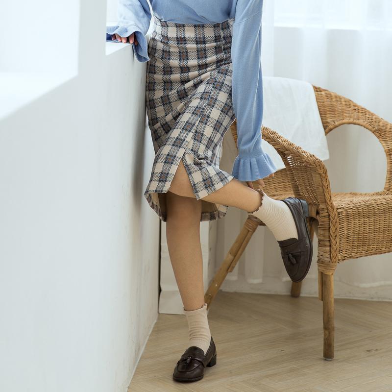 【6385#不低69】高级感毛呢格子半身裙女高腰中长款港味复古秋冬