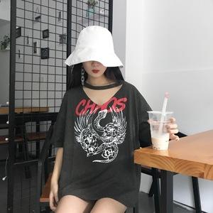 实拍韩国ulzzang做旧字母复古印花镂空T恤女上衣8027