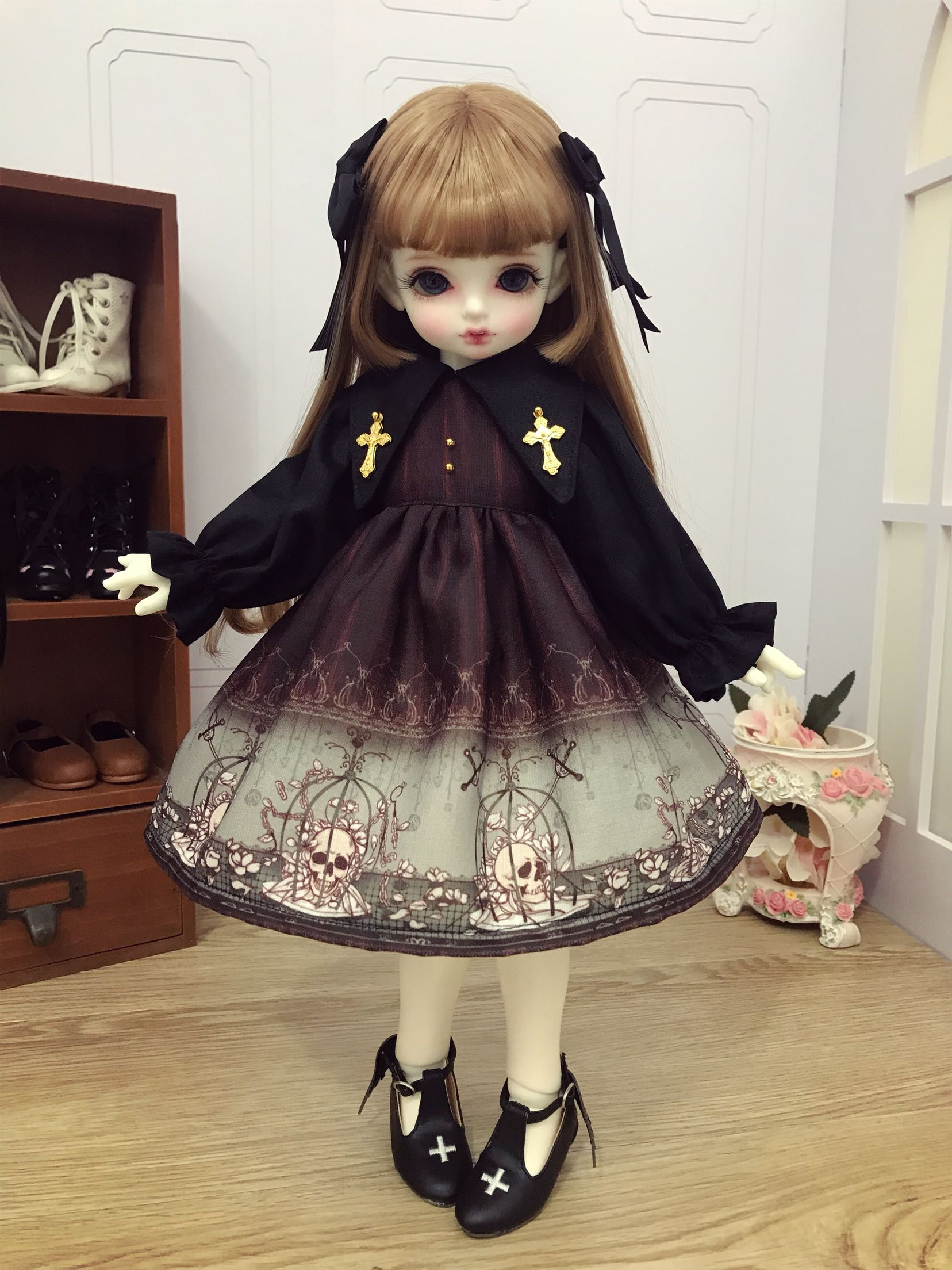 2PCS Lolita Dress For 1//6 1//4 MSD 1//3 SD DZ YOSD BJD Doll Dollfie Outfit PF
