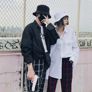 韩国ulzzang男女原宿bf风宽松长袖衬衣情侣装衬衫外套Y936-P58