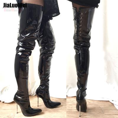淘宝网过膝长筒靴_热卖12厘米性感过膝超长靴女王漆皮靴钢管舞专用舞台靴-淘宝网