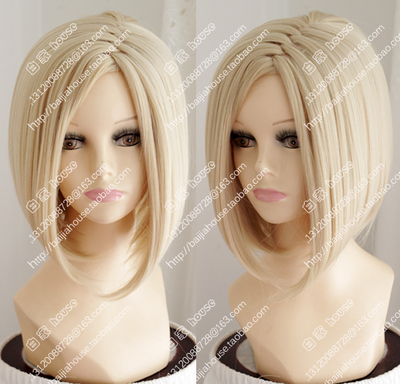 taobao agent Light gold European and American fashion Sassoon wig, bobo pear flower, side bangs, short straight hair and lightning scalp