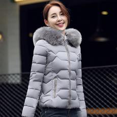 实拍2017冬季新款韩版修身潮流大毛领短款羽绒服棉衣女短棉服