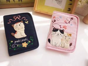 Giải phóng mặt bằng! Dễ thương mèo phim hoạt hình bông nữ đa chức năng hộ chiếu gói tài liệu gói táo 6 túi điện thoại di động