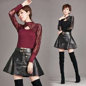 实拍1021#欧美女装秋冬新款毛衣针织衫拼接蕾丝修身打底外穿毛衣
