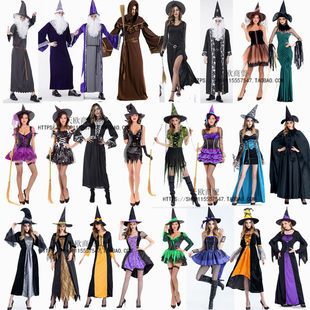 Halloween death cos costume female witch male and female couple wizard ghost clothing demon costume pharaoh hooded adult