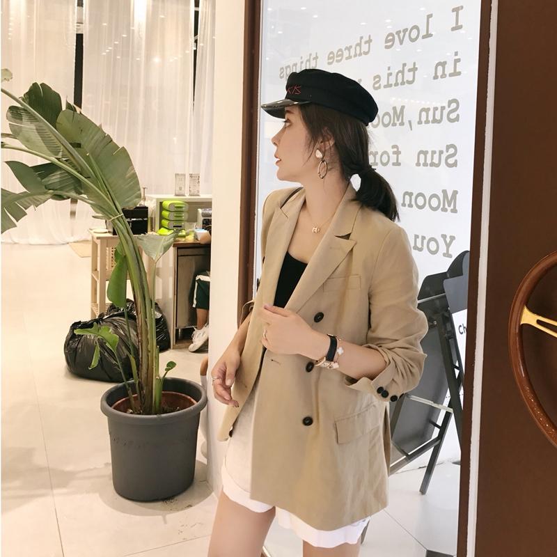 Hàn Quốc blazer nữ mùa hè thường cotton 2018 đầu mùa thu phiên bản mới đôi ngực màu rắn áo hoang dã Business Suit
