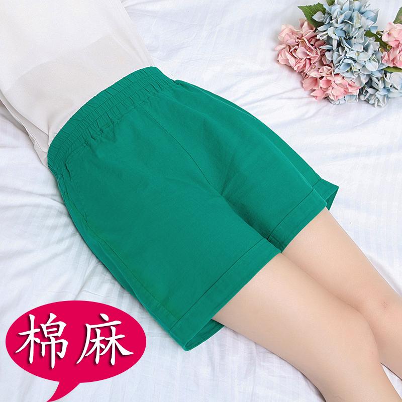 Mùa hè ăn mặc phụ nữ trung niên mặc mẹ quần short nữ mùa hè trung niên đàn hồi cao eo lỏng bông và vải lanh năm quần phần mỏng