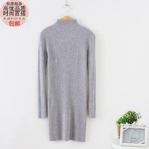 新款半高领中长款加厚纯色修身显瘦针织打底衫秋冬套头百搭女毛衣