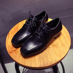 小皮鞋女英伦风女鞋方头韩版浅口时尚百搭中跟粗跟春季单鞋女2125