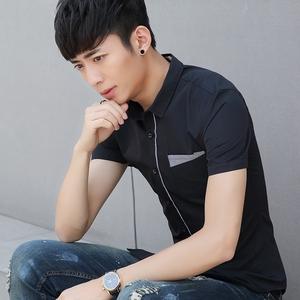 夏季男士短袖衬衫韩版修身 青少年衬衣男薄款白色休闲纯色寸衫019