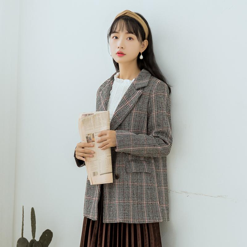 【6360#不低于115】港味复古chic英伦格子西装外套韩版休闲小西服