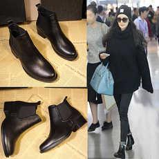 209-1新款冬季短靴黑色切尔西女靴单靴平跟马丁靴英伦风女鞋2017