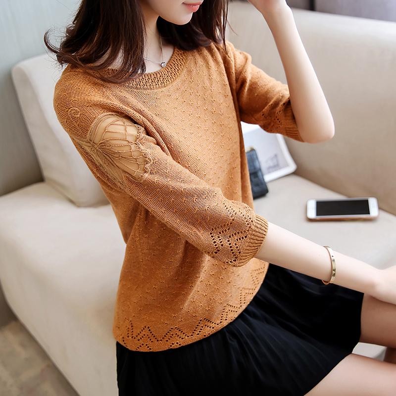 Mùa xuân Hàn Quốc phiên bản của lỏng mỏng của phụ nữ ren áo len vòng cổ tay áo đáy áo sơ mi hoang dã áo thun áo len mùa hè