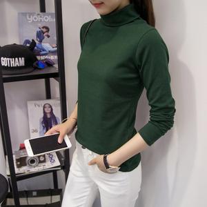 纯色羊毛绒修身高领套头打底长袖T恤女#1808