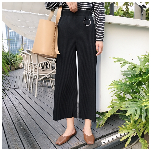 Korean Fashion Knit Female High Waist Loose Straight Leg Pant