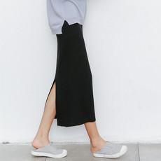 (现货)975【模特实拍】2018修身包臀开叉高腰针织长裙一步裙