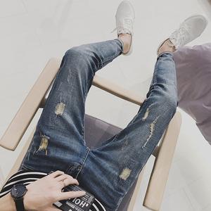 2017韩版时尚潮男小脚裤 绳子款深蓝色牛仔长裤 1721 P55