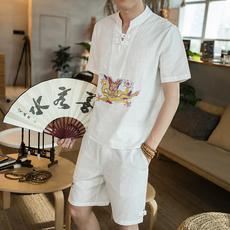 中国风 夏装新款 盘扣复古刺绣龙袍短袖T恤男短裤套装男 A806 P65
