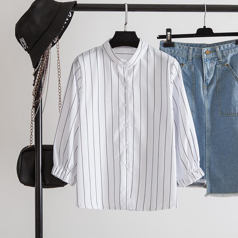 泡泡灯笼袖百搭白色夏季立领上衣券后56.80元