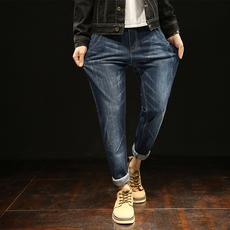 Q实拍2017日系长裤小脚裤牛仔裤男韩版潮修身哈伦裤男士长裤Q602
