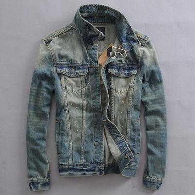 Mùa xuân và mùa thu retro người đàn ông cũ của denim áo khoác thanh niên Hàn Quốc phiên bản của chiếc áo khoác mỏng stretch nam denim quần áo 褂 thủy triều