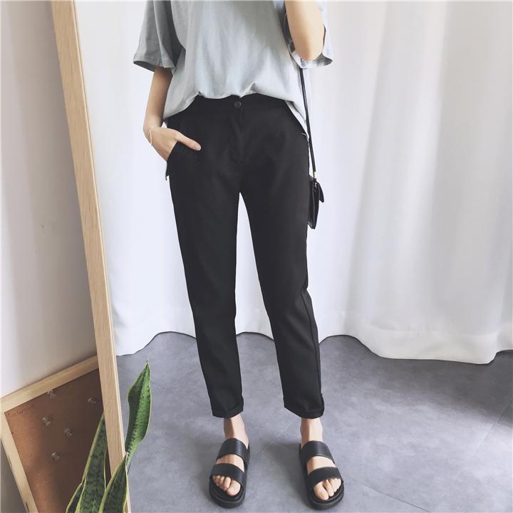 2018 mùa xuân phụ nữ mới của Hàn Quốc phiên bản của màu đen mỏng chân quần âu sinh viên hoang dã cao eo chín điểm phù hợp với quần