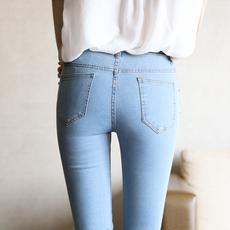 9023#yoke 2017年新款紧身小脚铅笔裤子 浅蓝修身显瘦弹力牛仔裤