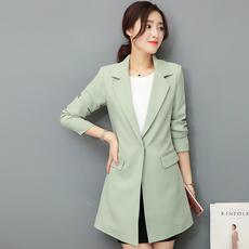 中长款小西装女2017春季新品韩版修身显瘦小西服时尚大码春秋外套