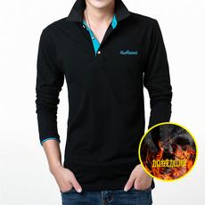 加绒加厚男士长袖T恤韩版修身翻领绣花打底衫衣服青年潮流polo衫