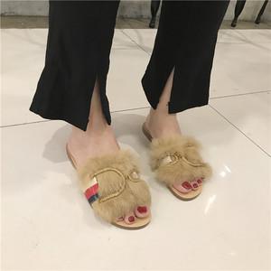 2018秋季新款方頭兔毛水貂毛毛拖鞋涼鞋女 158-8
