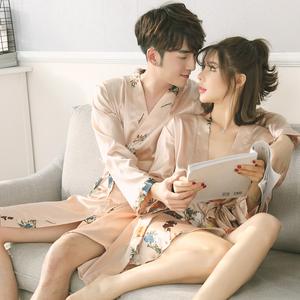 Hàn quốc phiên bản của cặp vợ chồng đồ ngủ mùa xuân và mùa hè băng lụa sling áo choàng hai mảnh nightdress nữ nam lụa áo choàng tắm dịch vụ nhà phù hợp với