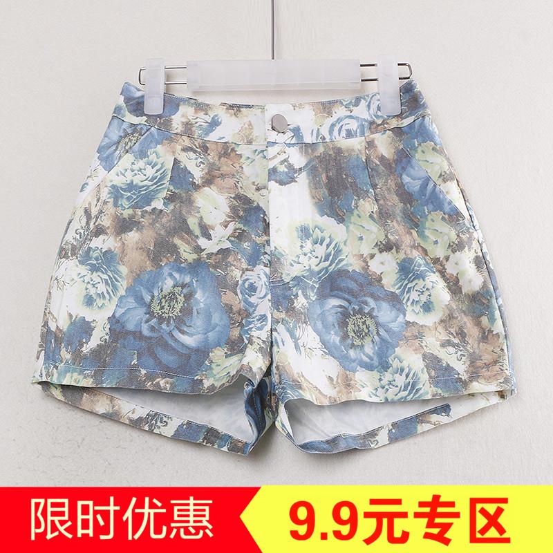 T series giảm giá cắt nhãn thời trang loose màu tươi nghệ thuật hoang dã 2018 quần short mùa hè Y00188H