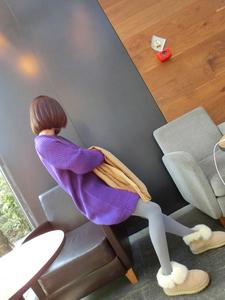 721# 韩国官网独家定制OL风?#21487;?#31616;单懒惰圆领针织连衣裙毛衣 女