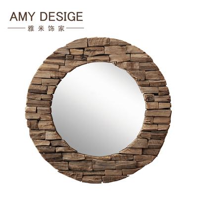 欧式乡村圆形装饰镜壁挂装饰镜玄关镜藤木漂流