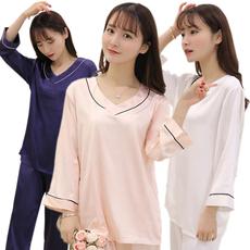 实拍现货春秋季睡衣女家居服套装 仿真丝 白色/粉色