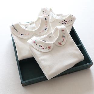 :女童长袖娃娃领衬刺绣打底衫