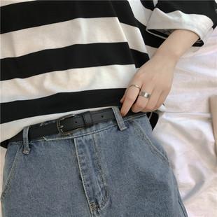 韩风柔软小皮带女细黑扣简约BF风百搭PU腰带学生装饰裤带复古时尚
