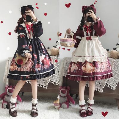 taobao agent 原创设计正版新款日系软妹lolita洛丽塔圣诞派对日常全套OP连衣裙