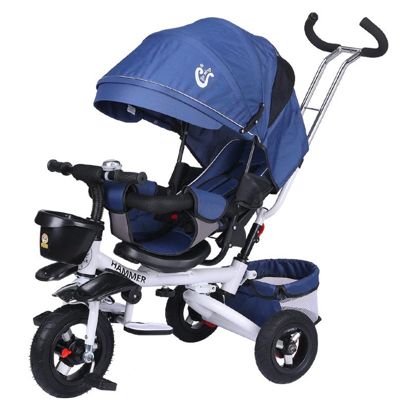 儿童三轮车可躺可折叠1-5岁儿童自行车婴儿手推车宝宝脚踏车