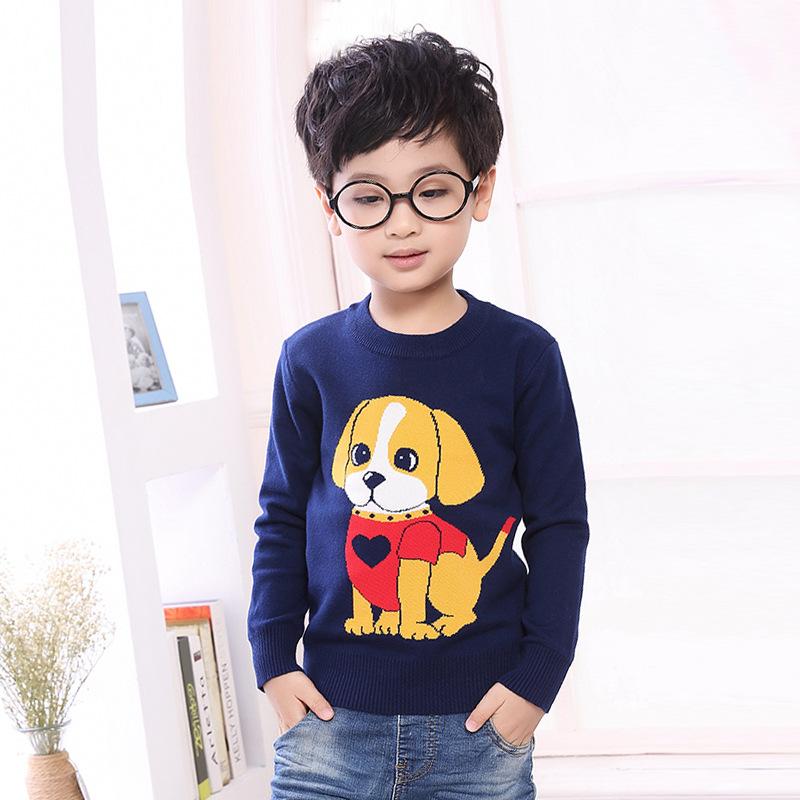 童装春秋季韩版男童纯棉套头毛衣卡通狗狗提花童装毛衣针织衫