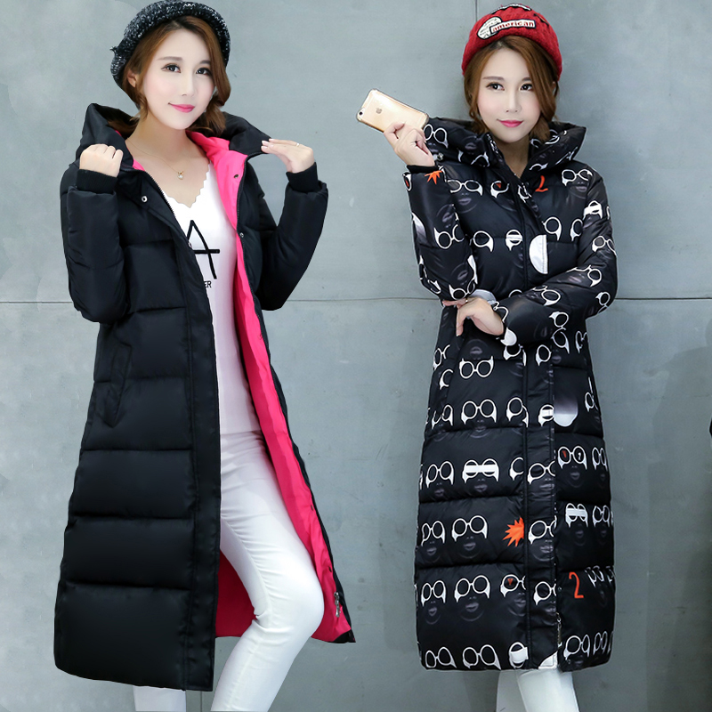 Chống mùa đông quần áo Châu Âu và Mỹ bông của phụ nữ phần dài dày in trên đầu gối lạnh trùm đầu xuống bông độn slim coat