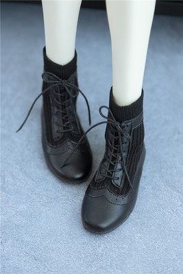 taobao agent 【Kaka Planet】bjd men's shoes black short leather boots 3-point baby shoes woven mid-cut short boots